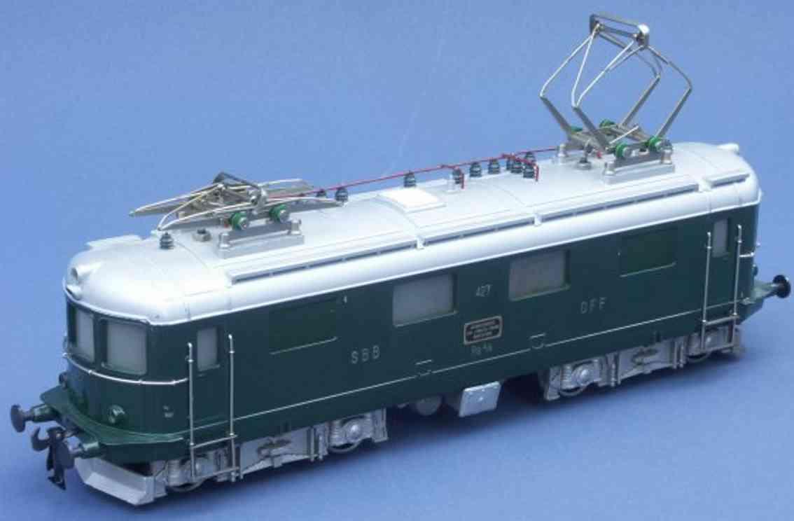 hag 550 (1952) spielzeug eisenbahn lokomotive elektrolokomotive bo'bo' der sbb runde form in dunkelgrün un