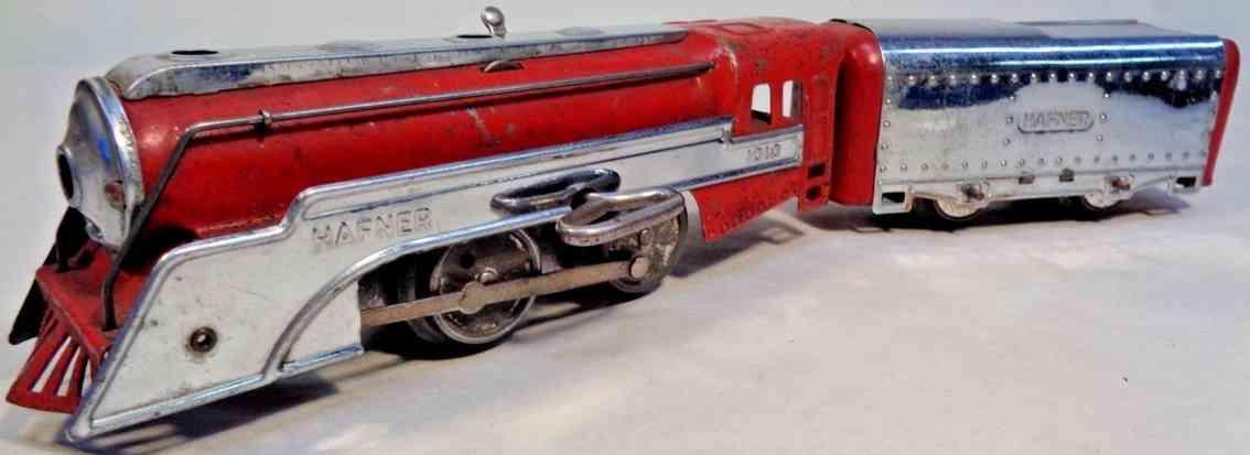 hafner 1010 toy clockwork steam locomotive #1010 overland flyer chrome red tender gauge 0