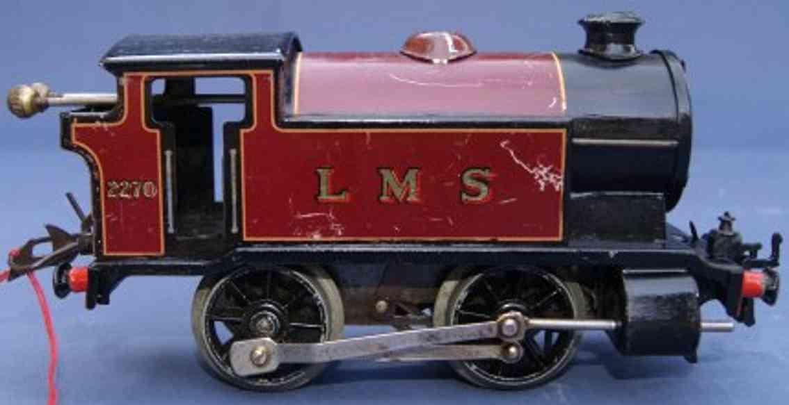hornby 1 spielzeug eisenbahn lokomotive uhrwerktenderlokomotive b in rotbraun und schwarz, aufschrif