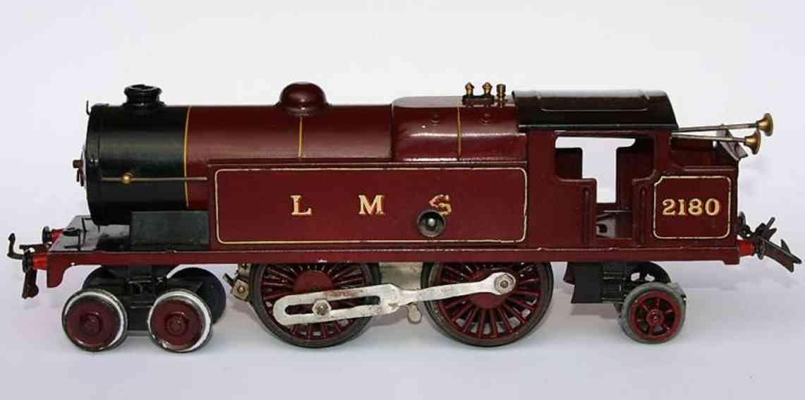 hornby 2180 spielzeug eisenbahn lokomotive uhrwerklokomotive achsfolge 2b1, rot-schwarz lithografiert,