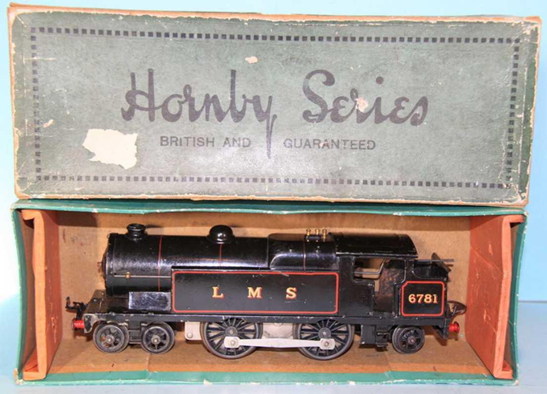 hornby 6781 railway toy engine tender locomotive 2b1, 6v, in black,  inscription lms and 67