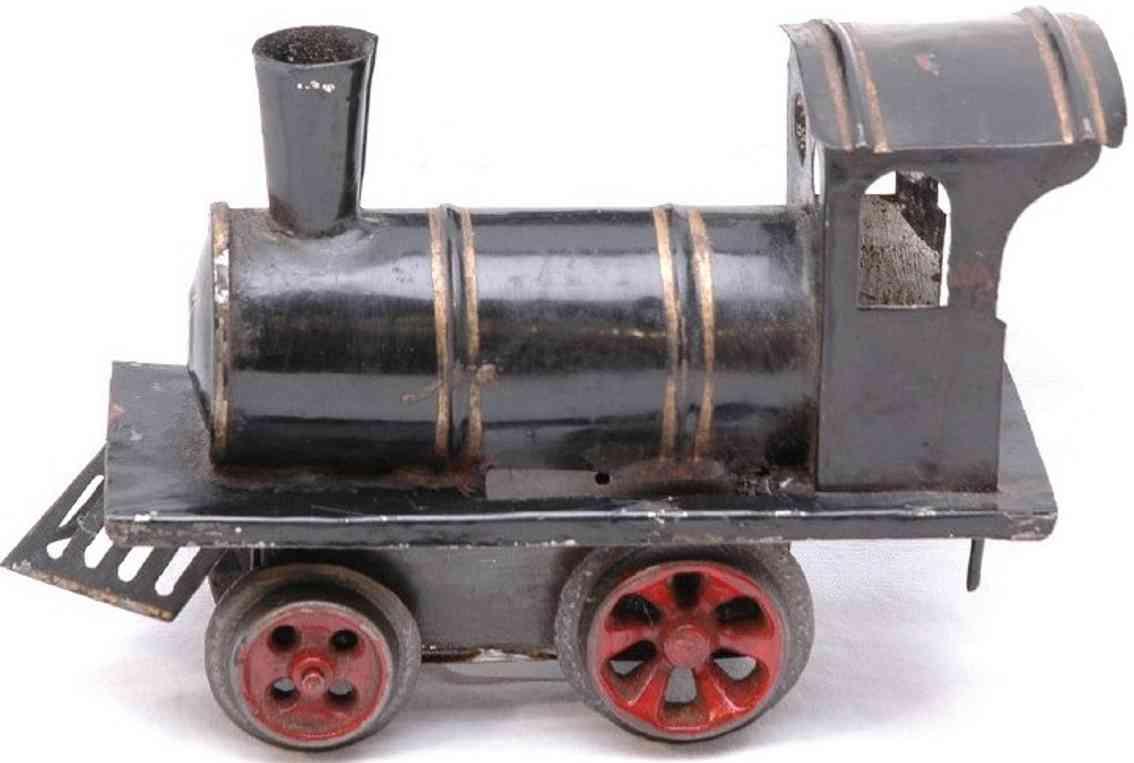 ives 0 (1901) spielzeug eisenbahn lokomotive uhrwerklokomotive aus blech, schwarz handbemalt mit goldfarb