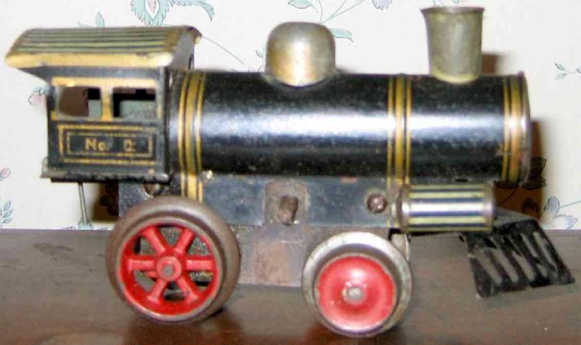 ives 0 (1905) spielzeug eisenbahn lokomotive uhrwerklokomotive aus blech, dunkel blau handbemalt mit gold