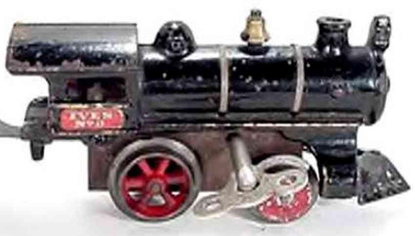 ives 0 (1909) spielzeug eisenbahn lokomotive uhrwerklokomotive aus gußeisen, schwarz handbemalt mit goldf