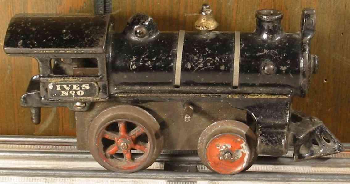 ives 0 (1910) spielzeug eisenbahn lokomotive uhrwerklokomotive aus gußeisen,s chwarz handbemalt mit strei