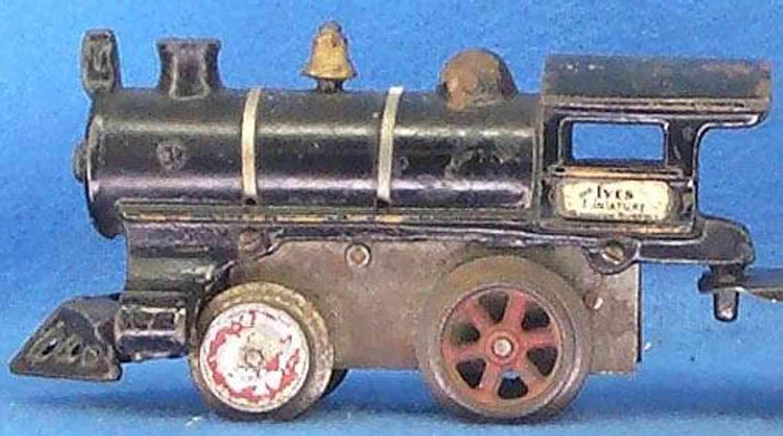 ives 0 (1910) spielzeug eisenbahn lokomotive uhrwerklokomotive aus gußeisen, schwarz handbemalt mit strei