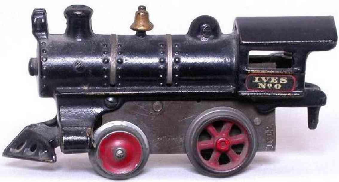 ives 0 (1911) spielzeug eisenbahn lokomotive uhrwerklokomotive aus gußeisen, schwarz handbemalt mit strei