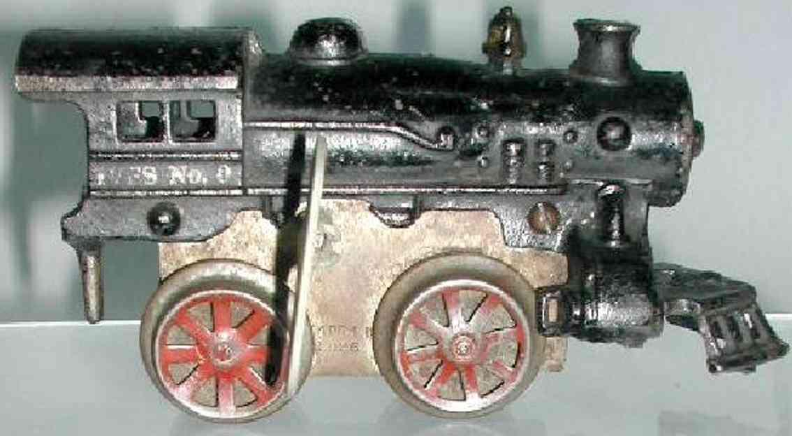 ives 0 (1926) spielzeug eisenbahn lokomotive uhrwerklokomotive aus gußeisen, schwarz handbemalt, speichen