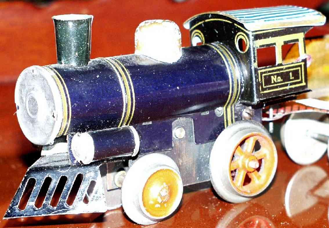 ives 1 spielzeug eisenbahn uhrwerklokomotive gusseisen blau spur 0