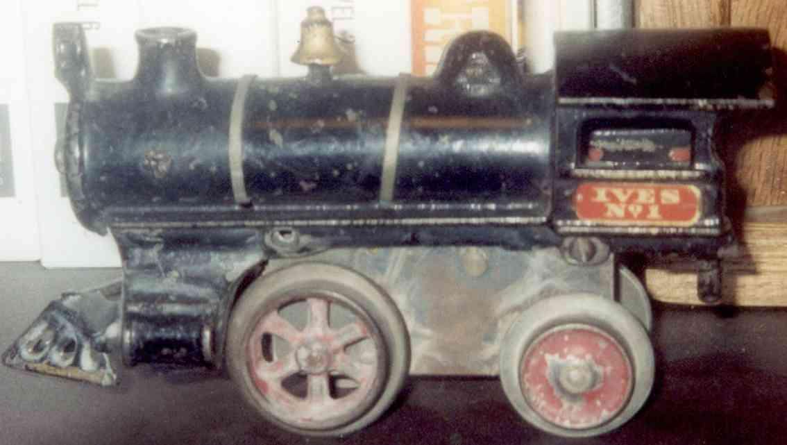 ives 1 1908 spielzeug eisenbahn uhrwerklokomotive gusseisen schwarz spur 0