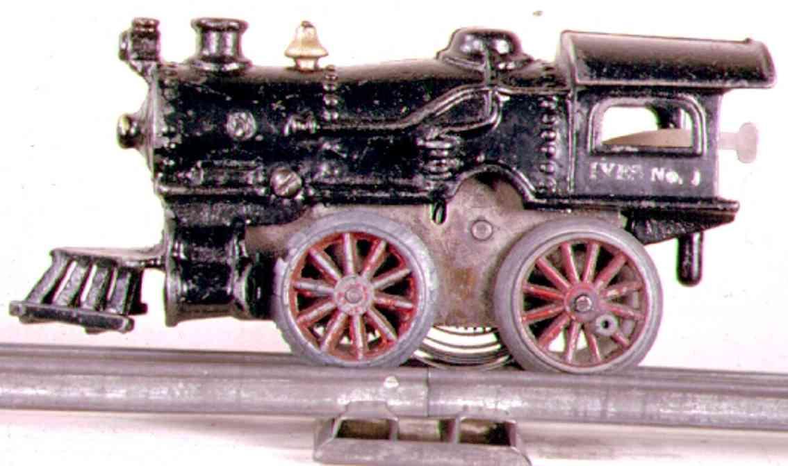 ives 1 1928 spielzeug eisenbahn uhrwerklokomotive gusseisen schwarz spur 0