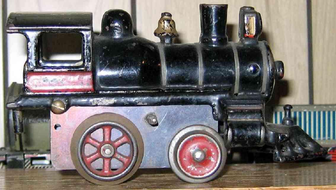 ives 11 (1903) spielzeug eisenbahn lokomotive uhrwerklokomotive aus gußeisen, schwarz handbemalt mit 4 ver