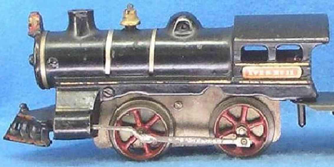 ives 11 (1908) spielzeug eisenbahn lokomotive uhrwerklokomotive aus gußeisen, schwarz handbemalt mit 3 bän