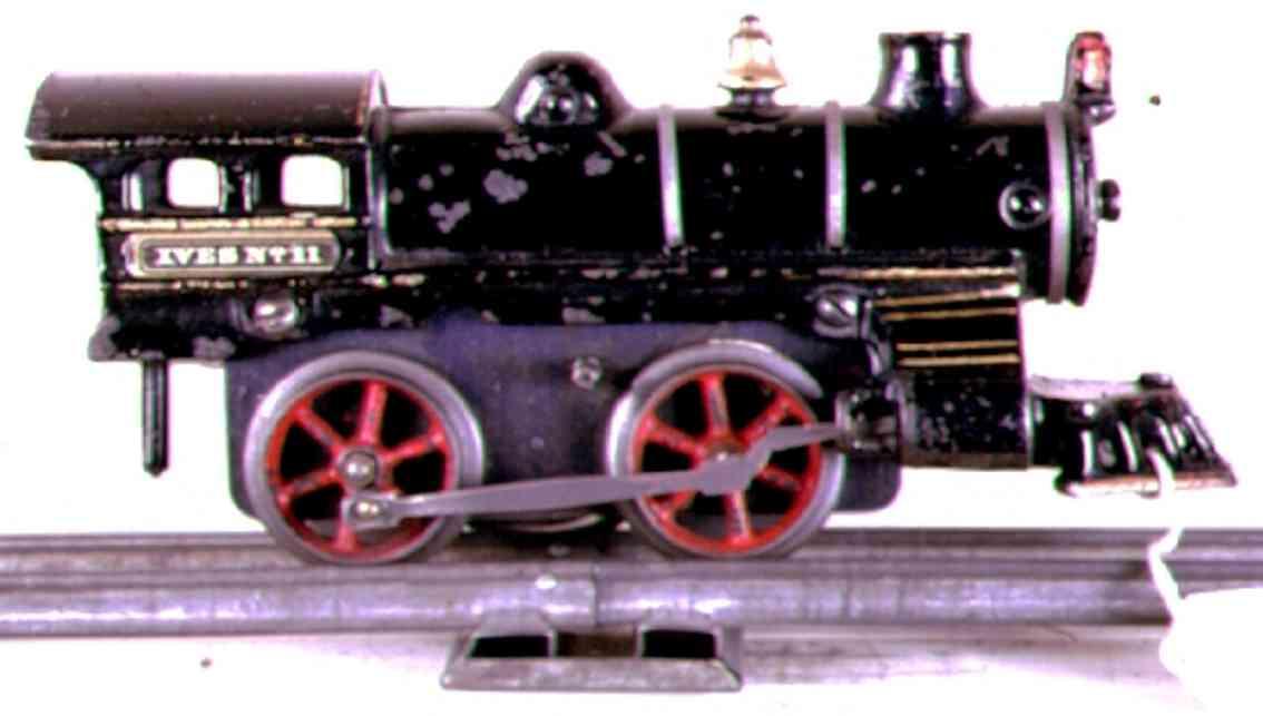 ives 11 (1910) spielzeug eisenbahn lokomotive uhrwerklokomotive aus gußeisen, schwarz handbemalt mit 3 bän