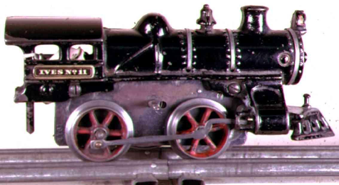 ives 11 (1911) spielzeug eisenbahn lokomotive uhrwerklokomotive aus gußeisen, schwarz handbemalt mit 3 bän