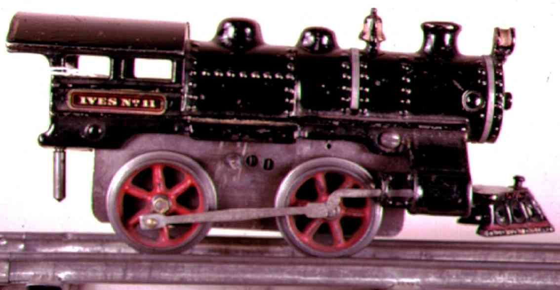 ives 11 (1912) spielzeug eisenbahn lokomotive uhrwerklokomotive aus gußeisen, schwarz handbemalt mit 2 bän