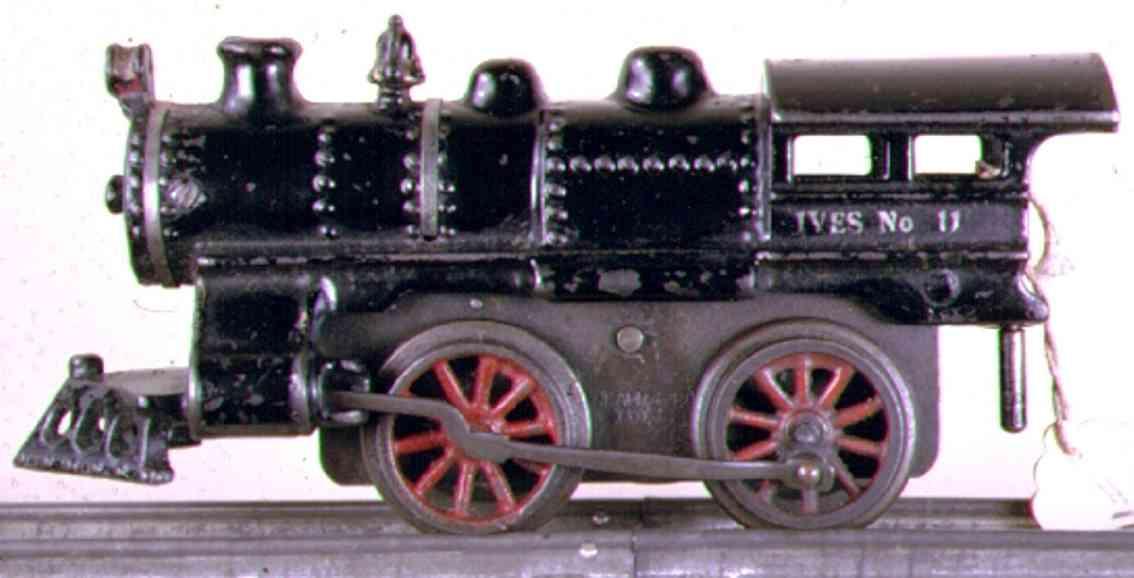 ives 11 (1915) spielzeug eisenbahn lokomotive uhrwerklokomotive aus gußeisen, schwarz handbemalt mit 2 bän