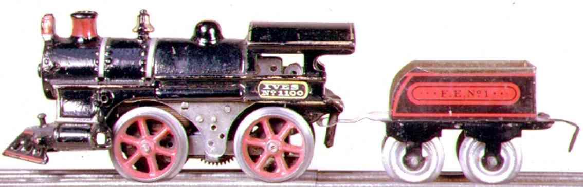 ives 1100 (1911) spielzeug eisenbahn lokomotive dampflokomoitve 0-4-0 in schwarz schwarze metallplakette mit