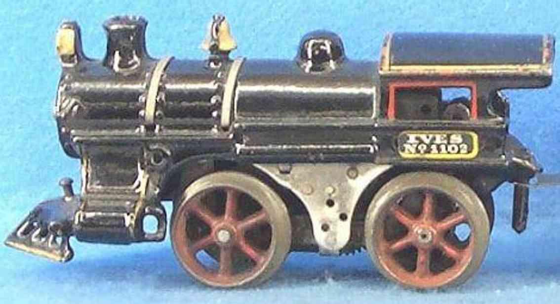 ives 1100 (1912) spielzeug eisenbahn lokomotive dampflokomotive 0-4-0 in schwarz; die nr. 1100 ist identisch