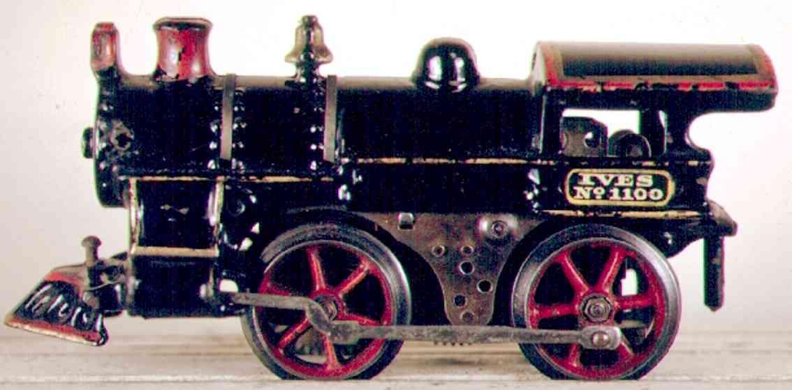 ives 1100 (1913) spielzeug eisenbahn lokomotive dampflokomotive 0-4-0 in schwarze mit gelb umrandeter aufsch