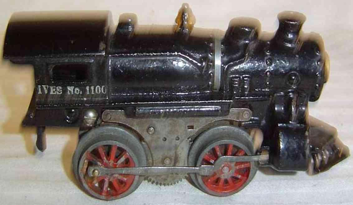 ives 1100 (1917) spielzeug eisenbahn lokomotive dampflokomotive in schwarz, gestempelte aufschrift in silber
