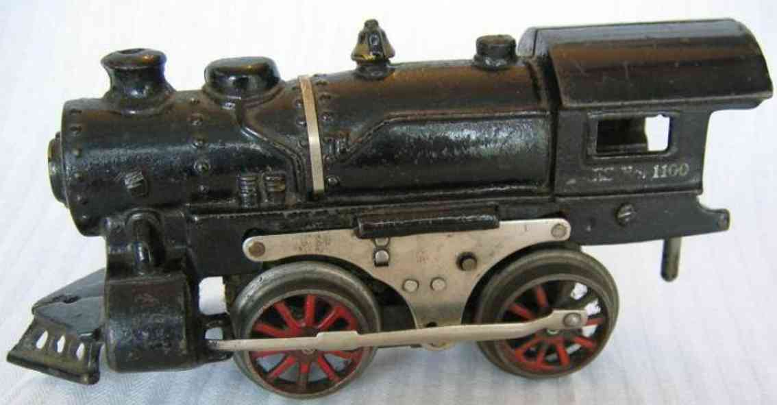 ives 1100 (1919) spielzeug eisenbahn lokomotive dampflokomotive in schwarz, gestempelte aufschrift in silber