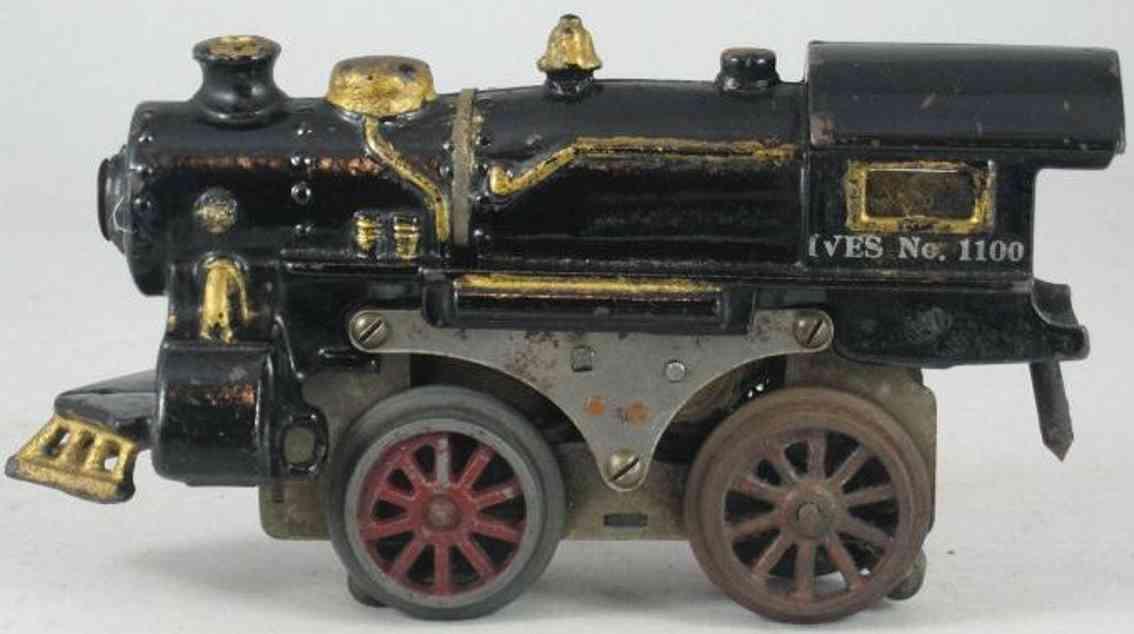 ives 1100 (1924) spielzeug eisenbahn lokomotive dampflokomotive in schwarz teilweise goldfarben,  gestempelt