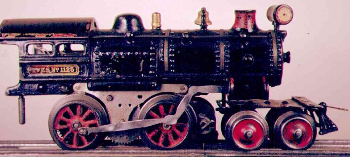 ives 1125 (1910) spielzeug eisenbahn lokomotive dampflokomotive 4-4-0 in schwarz, metallschild mit aufschrif