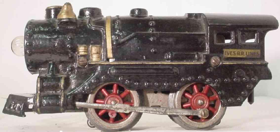 ives 1125 (1930) spielzeug eisenbahn lokomotive dampflokomotive in schwarz, silberfarben gestempelte aufschr