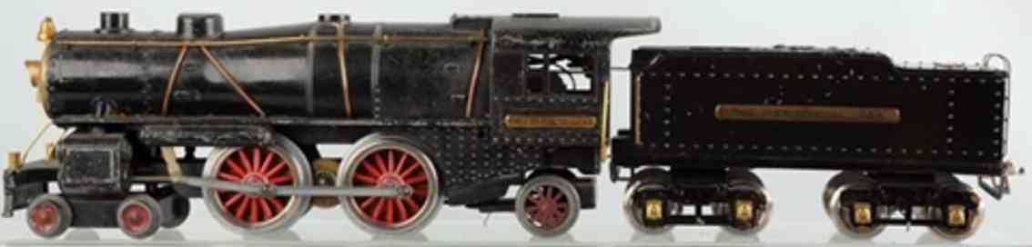 ives 1134 railway toy engine lockomotive and tender in black made of cast iron, black tru