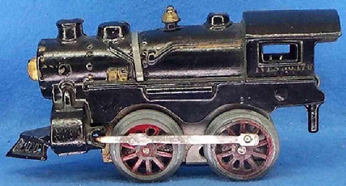 ives 176 (1930) spielzeug eisenbahn lokomotive uhrwerklokomotive aus gußeisen, schwarz handbemalt mit 1 ban