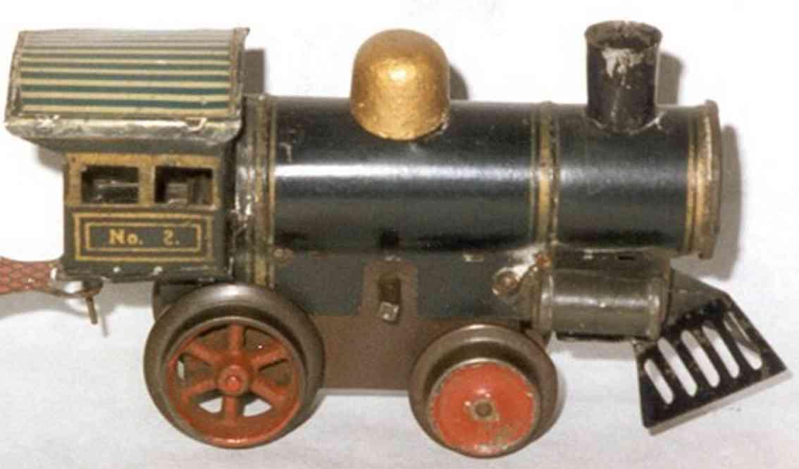 ives 2 (1905) spielzeug eisenbahn lokomotive uhrwerklokomotive mit blechgehäuse, in schwarz oder dunkel b