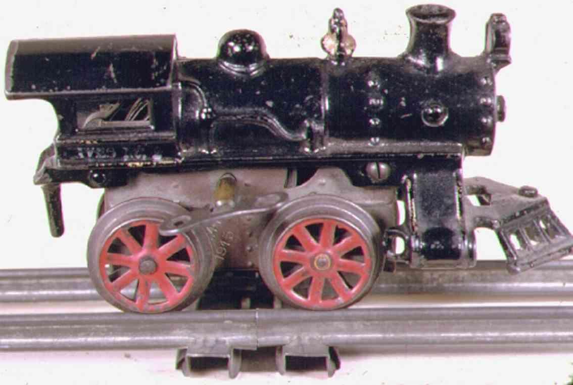 ives 2 (1915) spielzeug eisenbahn lokomotive uhrwerklokomotive aus gußeisen, schwarz  mit nieten auf dem