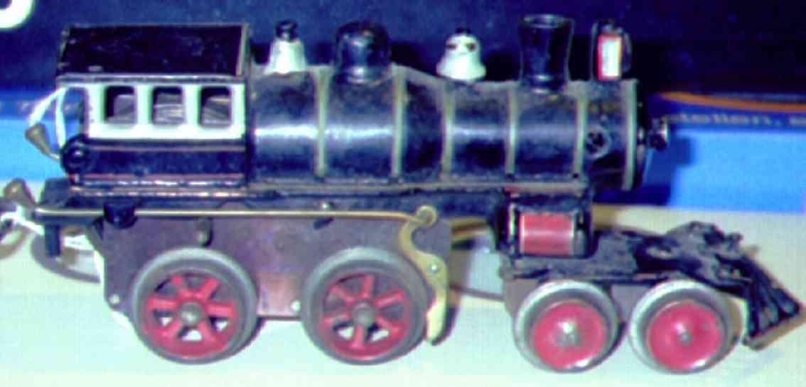 ives 20 (1901) spielzeug eisenbahn lokomotive uhrwerklokomotive aus gußeisen, schwarz handbemalt mit 6 bän