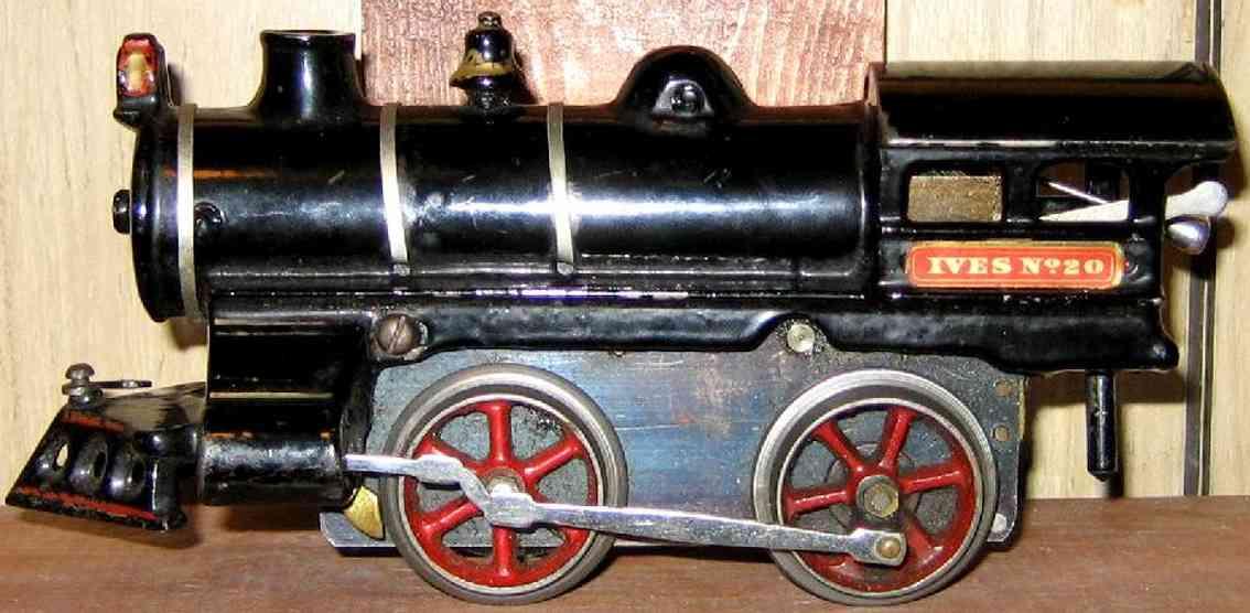 ives 20 (1908) spielzeug eisenbahn lokomotive uhrwerklokomotive aus gußeisen, schwarz handbemalt mit 3 bän