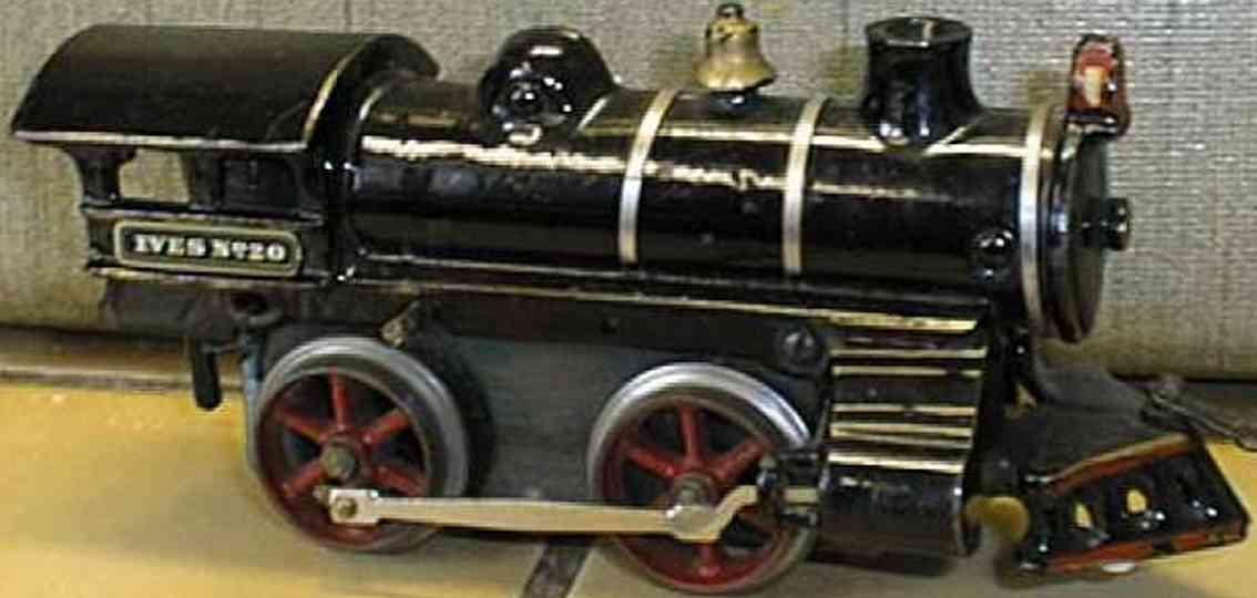 ives 20 (1910) spielzeug eisenbahn lokomotive uhrwerklokomotive aus gußeisen, schwarz handbemalt mit 3 bän