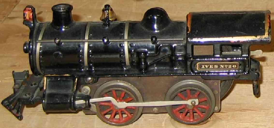 ives 20 (1911) spielzeug eisenbahn lokomotive uhrwerklokomotive aus gußeisen, schwarz handbemalt mit 3 bän