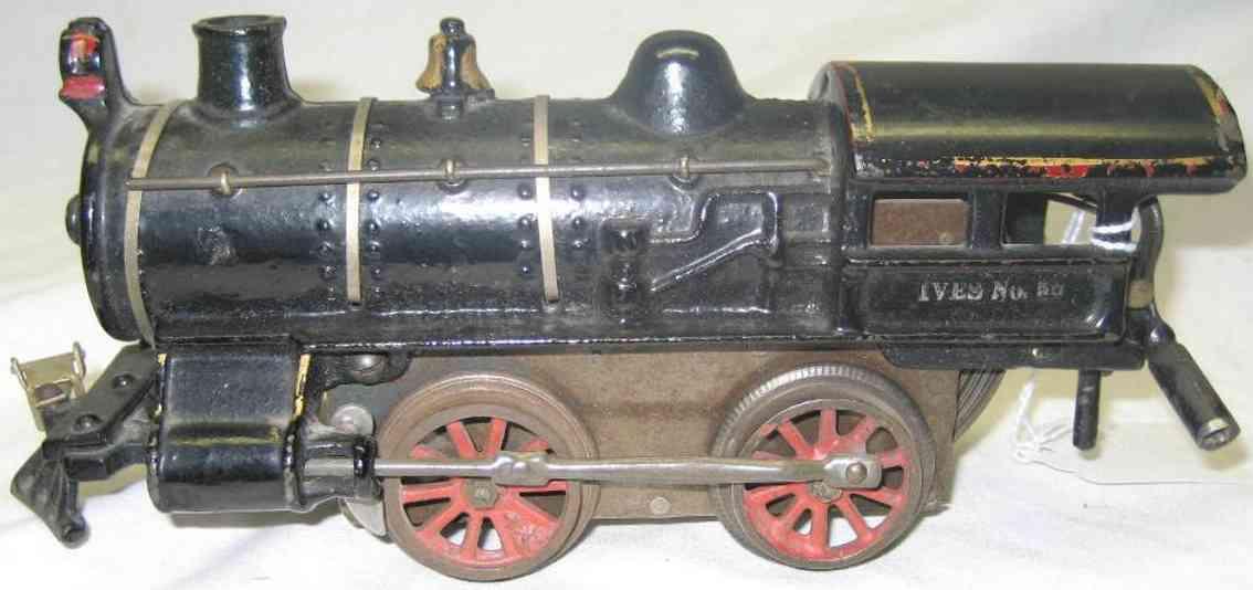ives 20 (1914) spielzeug eisenbahn lokomotive uhrwerklokomotive aus gußeisen, schwarz handbemalt mit 0 bis