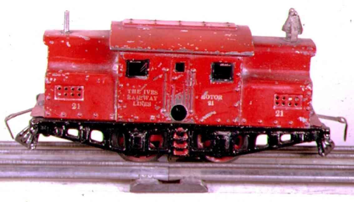 ives 21 (1920) spielzeug eisenbahn lokomotive uhrwerklokomotive in rot mit schwarzem untergestell, rote st
