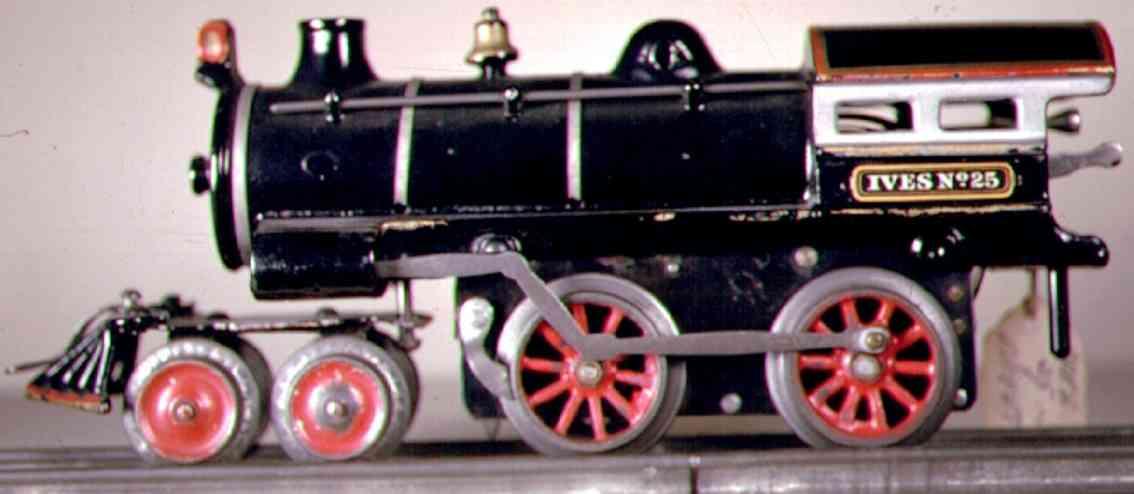 ives 25 (1910) spielzeug eisenbahn uhrwerklokomotive #25 aus gusseisen, schwarz handbemalt mit