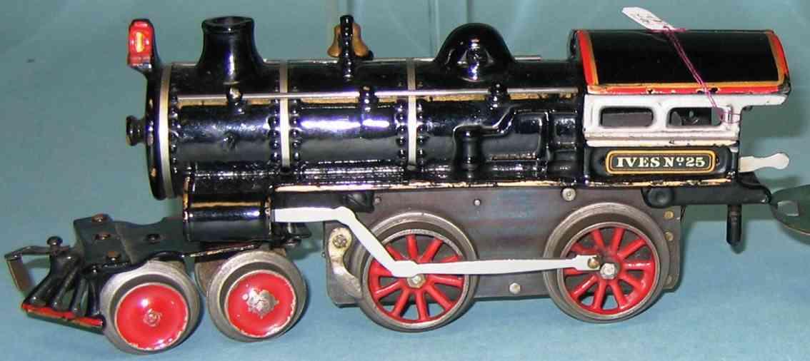 ives 25 (1911) spielzeug eisenbahn uhrwerklokomotive #25 aus gusseisen, schwarz handbemalt mit