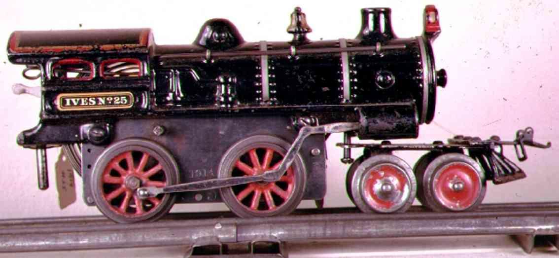 ives 25 (1913) spielzeug eisenbahn uhrwerklokomotive #25 aus gusseisen, schwarz handbemalt mit