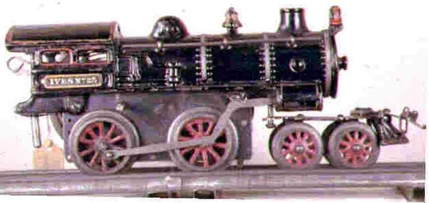 ives 25 (1916) spielzeug eisenbahn uhrwerklokomotive #25 aus gusseisen, schwarz handbemalt mit