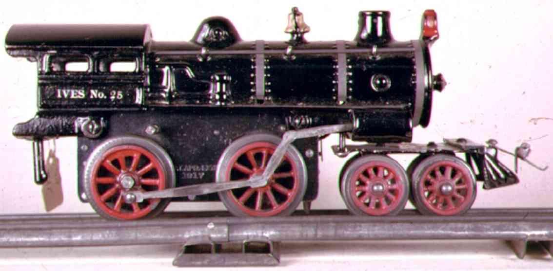 ives 25 (1917) spielzeug eisenbahn uhrwerklokomotive #25 aus gusseisen, schwarz handbemalt mit