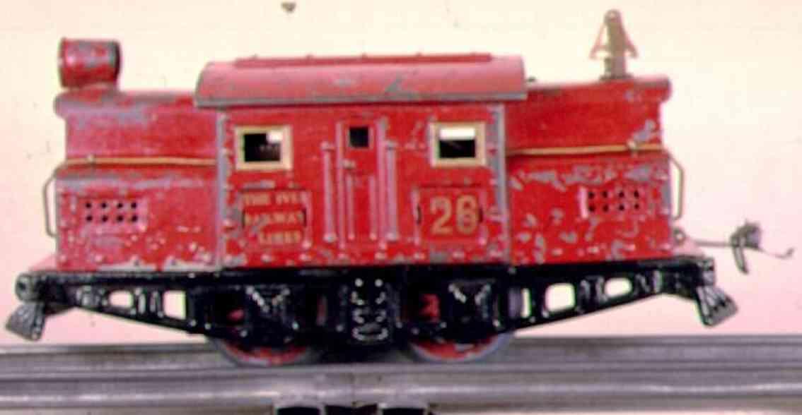ives 26 (1930) spielzeug eisenbahn lokomotive uhrwerklokomotive in rot mit schwarzem untergestell, schwarz