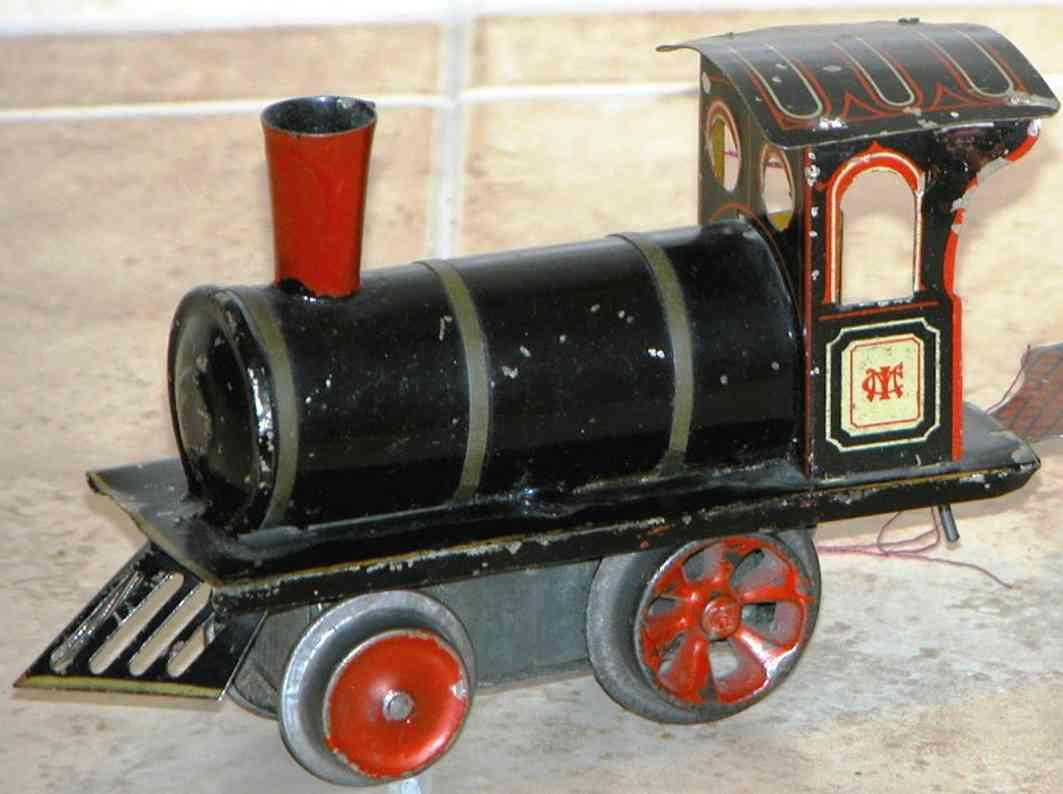 ives 3 (1902) spielzeug eisenbahn lokomotive uhrwerklokomotive aus blech, schwarz handbemalt mit streifen