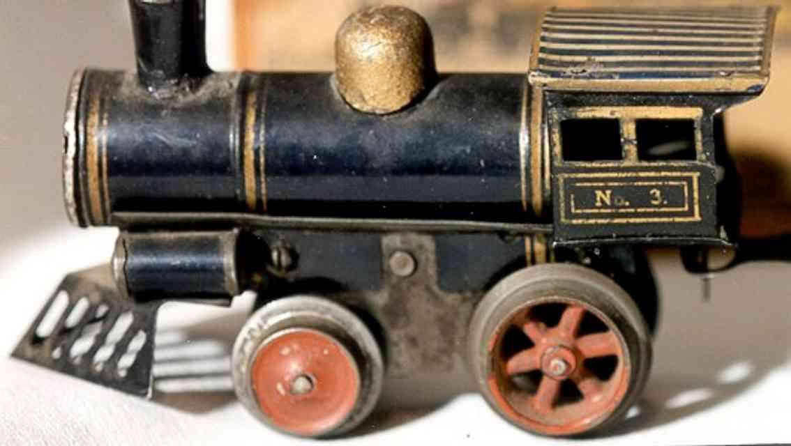 ives 3 (1905) spielzeug eisenbahn lokomotive uhrwerklokomotive aus blech, schwarz handbemalt mit streifen