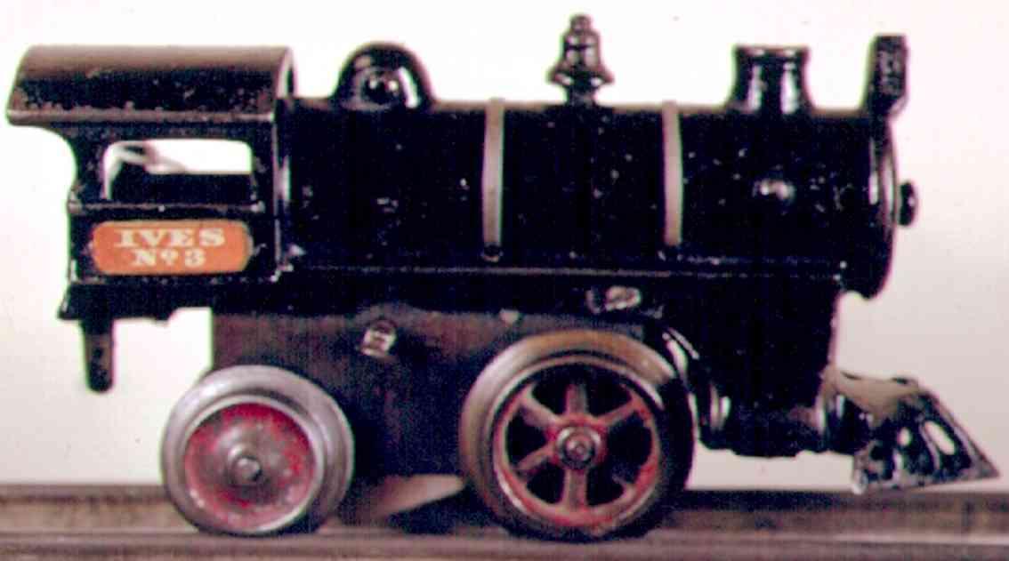 ives 3 (1908) spielzeug eisenbahn lokomotive uhrwerklokomotive aus gußeisen, schwarz handbemalt mit strei
