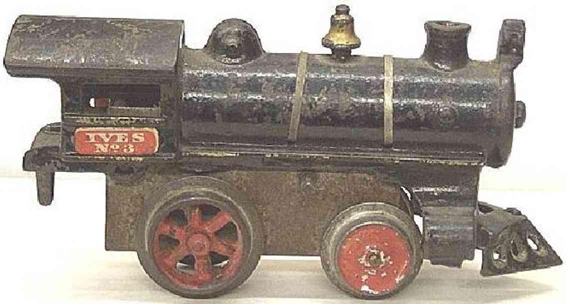 ives 3 (1910) spielzeug eisenbahn lokomotive uhrwerklokomotive aus gußeisen, schwarz handbemalt mit strei