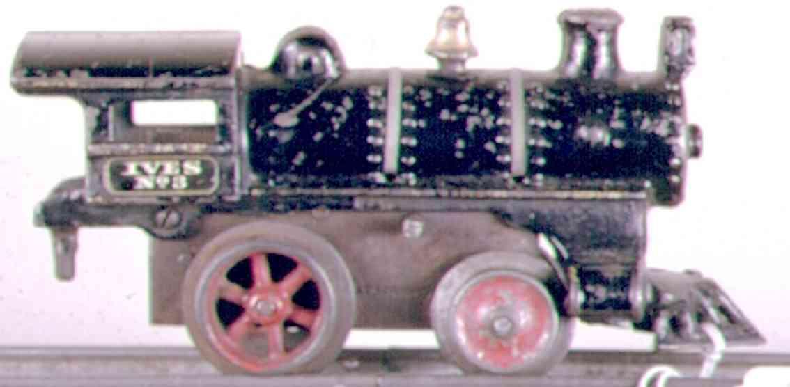 ives 3 (1911) spielzeug eisenbahn lokomotive uhrwerklokomotive aus gußeisen, schwarz handbemalt mit strei